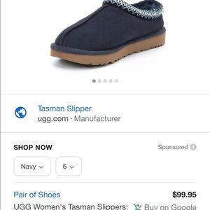 Brand new Ugg blue slippers Tasman